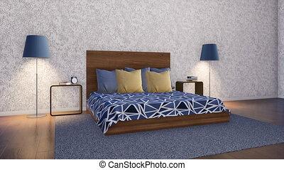 minimaliste, simple, conception, chambre à coucher, intérieur, 3d