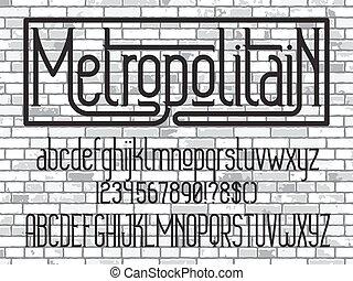 minimalistic, font., oeil caractère, metropolitain