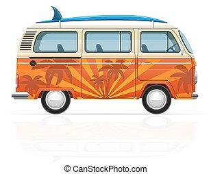 minivan, vecteur, planche surf, illustration, retro