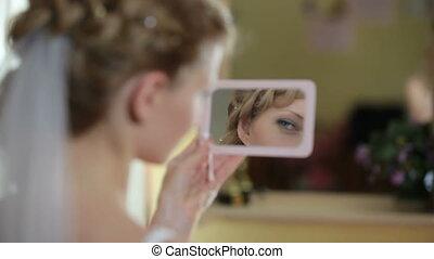 miroir, mariée, figure