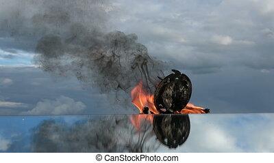 miroir, space., reveil, vieux, horloge, brûlé