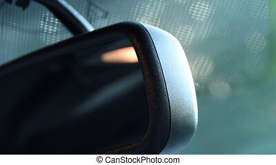 miroir, voiture, conduite, coup, soleil, sunflair, grand plan, vue postérieure, mustang, muscle, ford