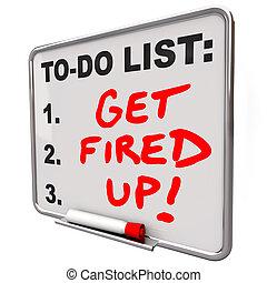 mis feu, obtenir, liste, haut, réussir, planche, mots, prêt, excité
