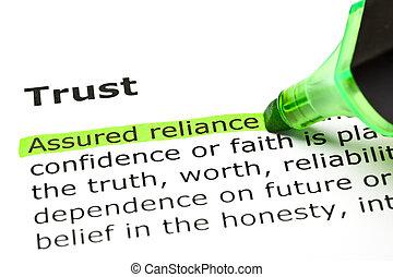 mis valeur, reliance', 'assured, 'trust', sous