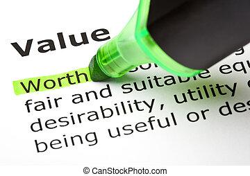 mis valeur, 'value', 'worth', sous