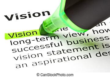 mis valeur, vert, 'vision'