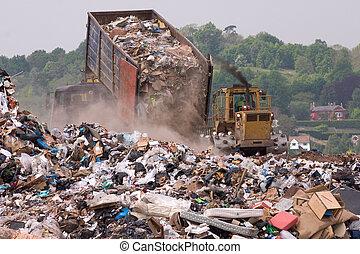 mise en décharge, dumping, pointe, déchets