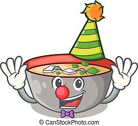 miso, clown, repas, soupe, délicieux, dessin animé