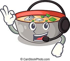 miso, dessin animé, soupe, délicieux, casque, repas