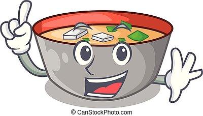 miso, dessin animé, soupe, doigt, délicieux, repas