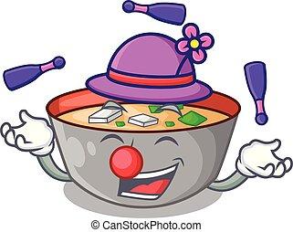 miso, dessin animé, soupe, jonglerie, délicieux, repas