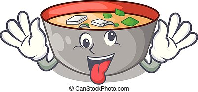 miso, fou, repas, soupe, délicieux, dessin animé