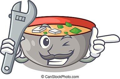 miso, mécanicien, repas, soupe, délicieux, dessin animé