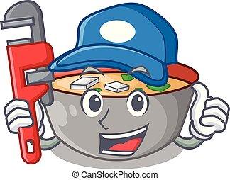 miso, plombier, repas, soupe, délicieux, dessin animé