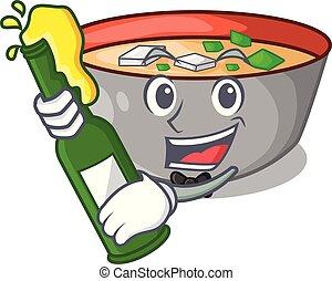 miso, repas, soupe, bière, délicieux, dessin animé