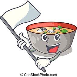 miso, repas, soupe, drapeau, délicieux, dessin animé