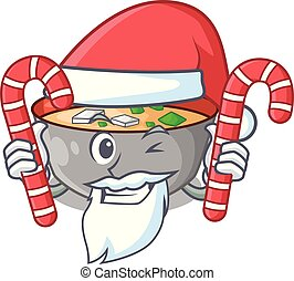 miso, santa, bonbon, repas, soupe, délicieux, dessin animé