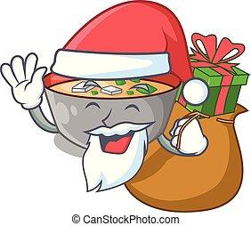miso, santa, cadeau, repas, soupe, délicieux, dessin animé