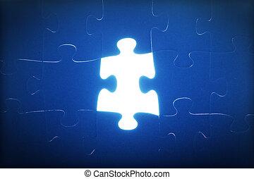 missing., lumière, puzzle, puzzle, problem., résoudre, glowing., morceau, solution