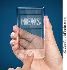 mobile, écran, moderne, téléphone, nouvelles, transparent, intelligent
