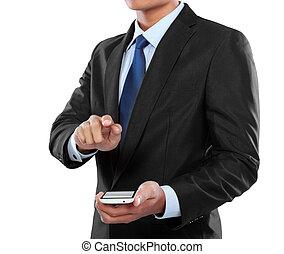 mobile, écran, téléphone, toucher, tenue, homme affaires, intelligent