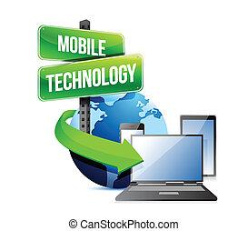 mobile, électronique, technologie, appareils