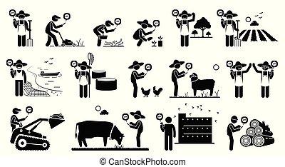 mobile, agriculture, ouvriers, industrie, leur, téléphone., utilisation, technologie, app, intelligent