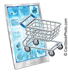 mobile, app, concept, achats