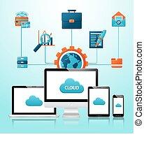 mobile, appareils, infographics
