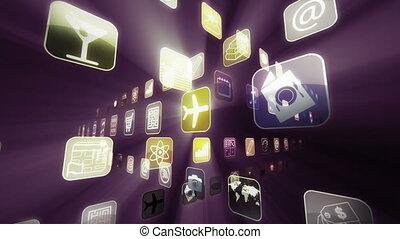 mobile, apps, projecteur