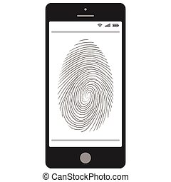 mobile, balayage, empreinte doigt, téléphone