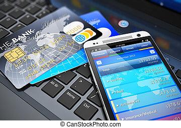 mobile, banque, concept, finance