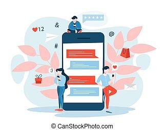 mobile, commercialisation, concept., communication, idée, numérique