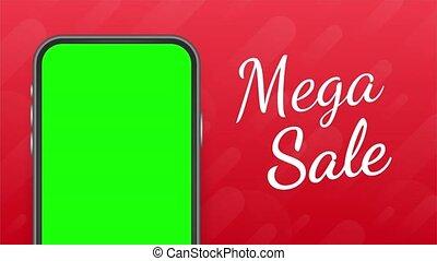 mobile., commercialisation, ligne, style, mega, concept, offre, vente, messenger., moderne, plat, téléphone, illustration., mobile
