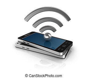 mobile, concept, réseau