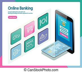 mobile, crédit, concept, card., téléphone