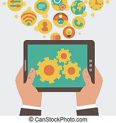 mobile, développement, app, vecteur, conce