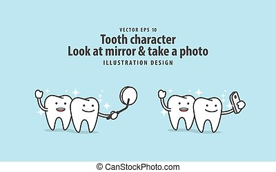 mobile, dentaire, illustration, téléphone, miroir, regard, &, arrière-plan., caractère, bleu, concept., dent, vecteur, photo, prendre
