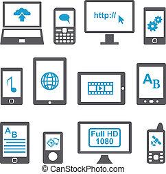 mobile, ensemble, ordinateurs, appareils, icônes