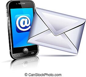 mobile, envoyer, téléphone, lettre, icône, 3d