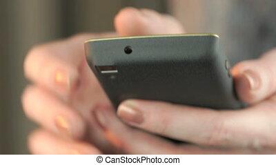 mobile, femme affaires, utilisation, téléphone affaires