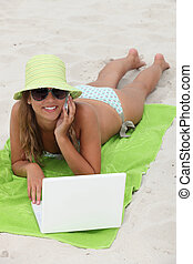 mobile, girl, plage