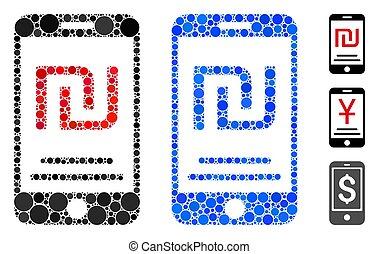 mobile, icône, composition, paiement, cercles, shekel
