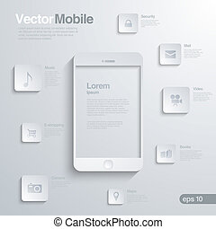 mobile, infographics., smartphone, icône, interface.