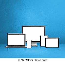 mobile, informatique, tablette, ordinateur portable, numérique, pc., téléphone, arrière-plan bleu