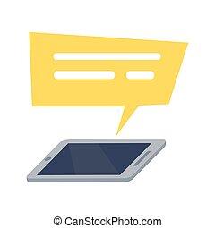 mobile, jaune, téléphone, parole, rectangle, icône