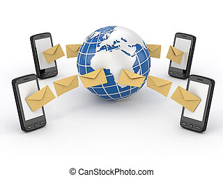 mobile, messages, sms, téléphone, vote, earth.