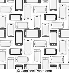 mobile, modèle, seamless, fond, smartphone, appareils