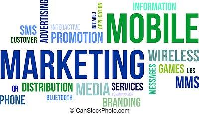 mobile, mot, -, nuage, commercialisation