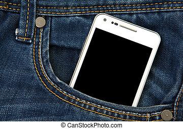 mobile, noir, screen., téléphone, poche, foyer